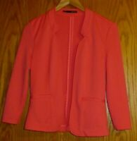 Maurices Women's small 3/4 sleeve bright coral open style shirt jacket texture