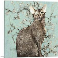 Artcanvas Abyssinian Cat Breed Light Mint Canvas Art Print