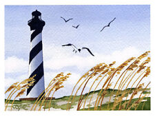 """""""CAPE HATTERAS LIGHTHOUSE"""" Watercolor ART Print Signed by Artist DJR"""