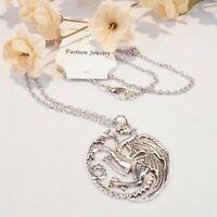 Game of Thrones GoT House Targaryen Logo Dragon Pendant Necklace US Seller