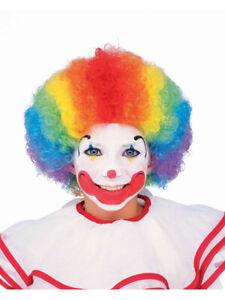 Child Multi-Color Rainbow Striped Clown Costume Accessory Afro Wig