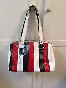 1980s Vintage Wet Look Shoulder Bag In Red White & Blue