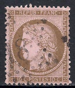 FRANCE SCOTT 60 USED FINE - 1875 10c BIS/ROSE CERES HEAD ISSUE   CV $11.00