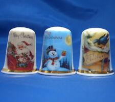 Birchcroft China Thimbles -- Set of Three -- Merry Christmas Cards