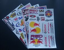 PACK OF FIVE SHEETS OF BMX MOTO-X MOTORSPORT RALLY RACING STICKERS:- SELECTION C