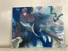 acrylic Resin Painting of moon with hens and stones