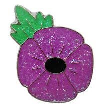PURPLE GLITTER POPPY ENAMEL PIN BADGE ANIMALS IN WORLD WAR REMEMBRANCE BROOCH