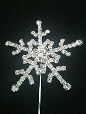 Silver Snowflake Christmas Frozen Party Cake Topper Decoration Centrepiece Pick