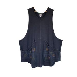 Blue Fish Artwear Thermal Vest -2- Black Organic Cotton/Spandex