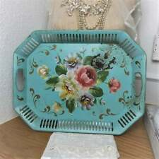Vtg Toleware Aqua Flower Floral Rectangle Metal Tray Cutouts Country Chic Decor