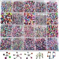 105pcs Wholesale Bulk Silver Body Piercing Eyebrow Jewelry Belly Tongue Bar Ring