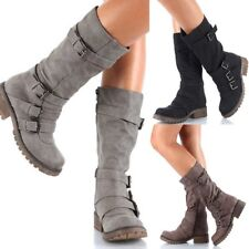 Women Roman Gladiator Block Mid Heels Round Toe Hot Chunky Buckle Mid Calf Boots