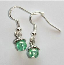TRANSLUSCENT green bubble bead earrings (T2)