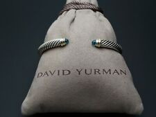 David Yurman 5mm Cable Classics Bracelet with Blue Topaz and 14K Gold size M