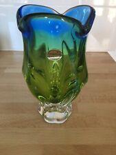 Bohemian Glass Vase , Czechoslavakia. Heavy Green/blue Glass Vase. Beautiful