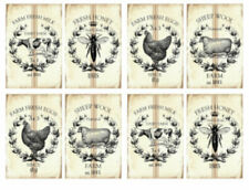 Vintage Image Shabby Victorian Kitchen Farm Fresh Labels Waterslide Decals KI408