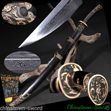 Dragon Phoenix Yanling sword Qing knife Hand Forged pattern steel sharp #0019