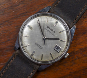 Vintage BULOVA Ambassador 30J Automatic Stainless Micro Rotor Watch Linen Dial