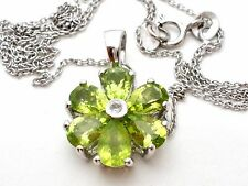 "Peridot Flower Pendant Necklace Green Gemstones Signed TGGC 18"" Chain 925"
