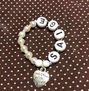 """Beautiful Handmade Elastic ID Bracelet Fits American Girl Doll ~ """"SAIGE"""" white)"""