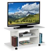 TV Board Lowboard Rollen Fernsehtisch TV Tisch Couchtisch weiß Beistelltisch