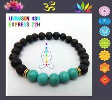Bracelet 7 chakras pierre de lave Yoga Bouddha Turquoise   CHAKRA GORGE T10