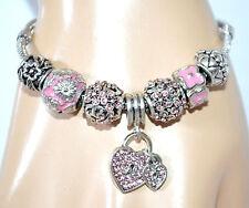 BRACCIALE ROSA GLICINE argento charms donna rigido  ciondoli ragazza strass F150