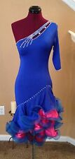 New Dark Blue Latin Ballroom Competition One Shoulder/Sleeve Dress Size US 4-6