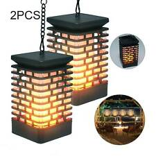 2Pcs Solar Lantern Lights Outdoor Dancing Flame Flickering Garden Hanging Lamp