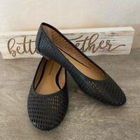 Lucky Brand Womens Elsina Ballet Flats Shoes Black Round Toe Laser Cut 7.5