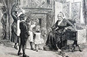 Christmas Morning 1884 PRESENTS for GRANDMA KNITTING GRANDCHILDREN TREE CAT MOM