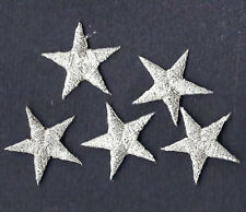 """STARS - Silver Metallic 7/8"""" Star(5 Pc)-Iron On Embroidered Applique/Astrolog"""