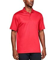 Under Armour Mens Active Performance Polo Shirt Red Loose Fit Heat Gear L New