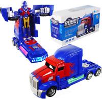 OPTIMUS TRUCK TRANSFORMERS ROBOT BUMP & GO CAR LIGHTS SOUNDS BOYS GIRLS TOYS