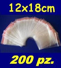 200 pz. BUSTINE ZIP, buste, sacchetti plastica, chiusura a cerniera, 12x18 cm