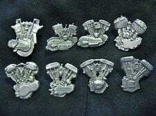 SET of 8 HARLEY BIKER DETAILED MOTOR PINS BLOCK FLAT PAN KNUCKLE EVO SHOVEL ....