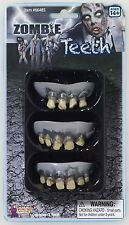 DELUXE LATEX ZOMBIE TEETH 3 PACK SET KIT GREY WALKING DEAD COSTUME ACCESSORY