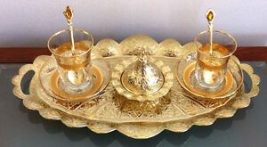 Turkish Chick Tea Set Cups Plates Spoons Delight Bowl Tray Glass Zamak Gold Band