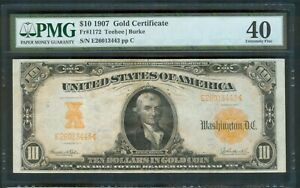 $10 Gold Certificate series 1907, PMG Extremely Fine 40