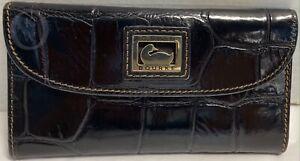 Dooney & Bourke Leather*Black*LEATHER*Moc Croc*Continental Clutch Wallet 21089L