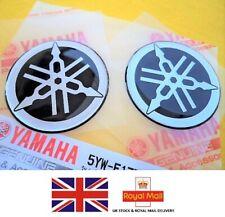 2 X 50mm Yamaha Tuning Fork Black Silver GEL Decal Sticker Badge Logo *uk Stock*