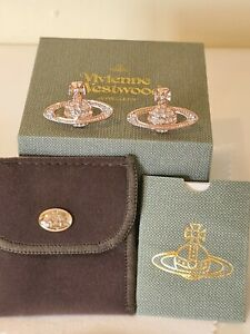 Vivienne Westwood rose gold tone Bas Relief Earrings New with the Box