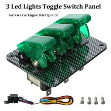 Green LED 3 Toggle Switch Panel Button Flip-up Carbon Fiber Race Car Ignition