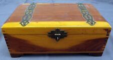 Vintage 9'' by 4'' Wooden Cedar Decorative Trinket Chest Box W/ Brass Hardware