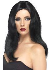 Peluca Peluca Negra Liz Hurley atractivo largo Negro Peluca de señoras Vestido de fantasía de Halloween