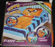 Kids Puppy Zippy Sack Twin Size Fleece Zip Up Blanket new