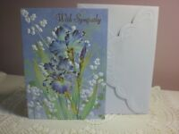 Carol's Rose Garden -  Sympathy card - 2 Blue Iris flowers on front