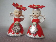 VTG Christmas Angel Salt & Pepper Napco 1956 Red Poinsettia Replacement 3.5""