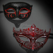 His & Her Couple Masquerade Mask, Black Red Phantom Mask M6107, M7110