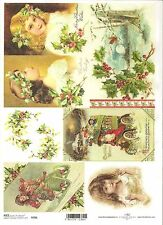 Rice Paper for Decoupage Scrapbooking Christmas Vintage Holly Girl A4 ITD R786